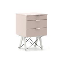 KONTENER BASIC kolor DUSTY PINK stelaż BUK WHITE  Praktyczny kontener jako pomocnik do biurka, lub samodzielna szafka z szufladami. Wykonany ręcznie z...