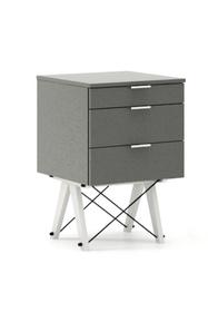 KONTENER BASIC kolor GREY stelaż BUK WHITE  Praktyczny kontener jako pomocnik do biurka, lub samodzielna szafka z szufladami. Wykonany ręcznie z litego...