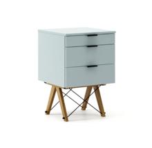 KONTENER BASIC kolor ICE BLUE stelaż DĄB  Praktyczny kontener jako pomocnik do biurka, lub samodzielna szafka z szufladami. Wykonany ręcznie z litego...
