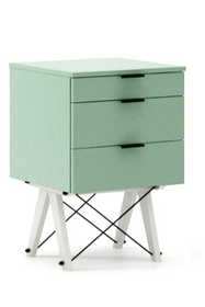 KONTENER BASIC kolor MINT stelaż BUK WHITE  Praktyczny kontener jako pomocnik do biurka, lub samodzielna szafka z szufladami. Wykonany ręcznie z litego...