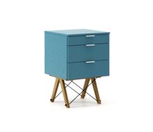 KONTENER BASIC kolor OCEANIC stelaż DĄB  Praktyczny kontener jako pomocnik do biurka, lub samodzielna szafka z szufladami. Wykonany ręcznie z litego...