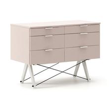 KONTENER DOUBLE kolor DUSTY PINK stelaż BUK WHITE  Praktyczny kontener jako pomocnik do biurka, lub samodzielna szafka z szufladami. Wykonany ręcznie z...