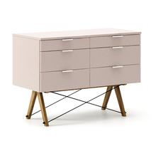 KONTENER DOUBLE kolor DUSTY PINK stelaż DĄB  Praktyczny kontener jako pomocnik do biurka, lub samodzielna szafka z szufladami. Wykonany ręcznie z litego...