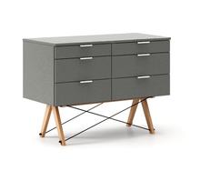 KONTENER DOUBLE kolor GREY stelaż BUK (standard)  Praktyczny kontener jako pomocnik do biurka, lub samodzielna szafka z szufladami. Wykonany ręcznie z...
