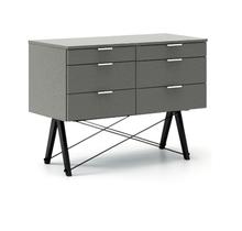 KONTENER DOUBLE kolor GREY stelaż BUK BLACK  Praktyczny kontener jako pomocnik do biurka, lub samodzielna szafka z szufladami. Wykonany ręcznie z litego...