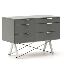 KONTENER DOUBLE kolor GREY stelaż BUK WHITE  Praktyczny kontener jako pomocnik do biurka, lub samodzielna szafka z szufladami. Wykonany ręcznie z litego...