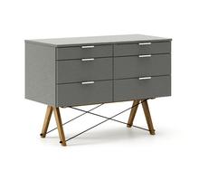 KONTENER DOUBLE kolor GREY stelaż DĄB  Praktyczny kontener jako pomocnik do biurka, lub samodzielna szafka z szufladami. Wykonany ręcznie z litego drewna...