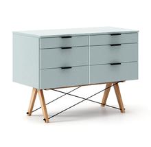 KONTENER DOUBLE kolor ICE BLUE stelaż BUK (standard)  Praktyczny kontener jako pomocnik do biurka, lub samodzielna szafka z szufladami. Wykonany ręcznie z...