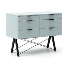 KONTENER DOUBLE kolor ICE BLUE stelaż BUK BLACK  Praktyczny kontener jako pomocnik do biurka, lub samodzielna szafka z szufladami. Wykonany ręcznie z...
