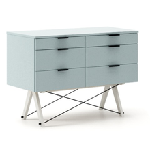 KONTENER DOUBLE kolor ICE BLUE stelaż BUK WHITE  Praktyczny kontener jako pomocnik do biurka, lub samodzielna szafka z szufladami. Wykonany ręcznie z...