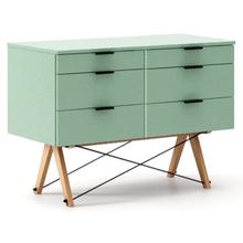 KONTENER DOUBLE kolor MINT stelaż BUK (standard)  Praktyczny kontener jako pomocnik do biurka, lub samodzielna szafka z szufladami. Wykonany ręcznie z...