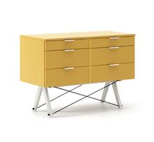 KONTENER DOUBLE kolor LIGHT MUSTARD stelaż BUK WHITE  Praktyczny kontener jako pomocnik do biurka, lub samodzielna szafka z szufladami. Wykonany ręcznie z...