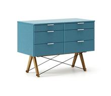 KONTENER DOUBLE kolor OCEANIC stelaż DĄB  Praktyczny kontener jako pomocnik do biurka, lub samodzielna szafka z szufladami. Wykonany ręcznie z litego...