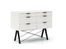 KONTENER DOUBLE kolor WHITE stelaż BUK BLACK  Praktyczny kontener jako pomocnik do biurka, lub samodzielna szafka z szufladami. Wykonany ręcznie z litego...