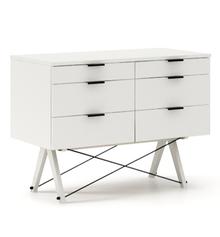 KONTENER DOUBLE kolor WHITE stelaż BUK WHITE  Praktyczny kontener jako pomocnik do biurka, lub samodzielna szafka z szufladami. Wykonany ręcznie z litego...