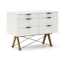 KONTENER DOUBLE kolor WHITE stelaż DĄB  Praktyczny kontener jako pomocnik do biurka, lub samodzielna szafka z szufladami. Wykonany ręcznie z litego...