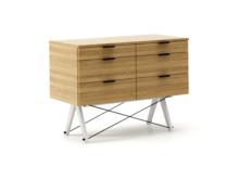 KONTENER DOUBLE kolor RAW OAK stelaż BUK WHITE  Praktyczny kontener jako pomocnik do biurka, lub samodzielna szafka z szufladami. Wykonany ręcznie z...