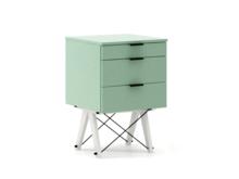 KONTENER KIDS basic kolor MINT stelaż BUK WHITE  Mini-kontener do dziecięcego biurka, lub samodzielna szafka z szufladami, np. do postawienia przy...