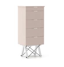 KOMODA TALLBOY TALL kolor DUSTY PINK stelaż BUK WHITE  Komoda w formie szufladnika TALLBOY. Idealnie posłuży jako bieliźniarka w sypialni lub pokoju...