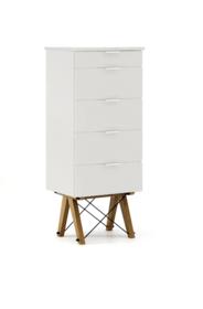 KOMODA TALLBOY TALL kolor LIGHT GREY stelaż DĄB  Komoda w formie szufladnika TALLBOY. Idealnie posłuży jako bieliźniarka w sypialni lub pokoju dziecka....