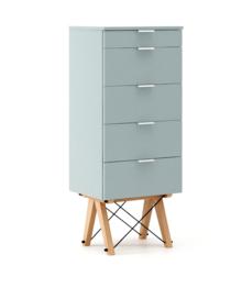 KOMODA TALLBOY TALL kolor ICE BLUE stelaż BUK (standard)  Komoda w formie szufladnika TALLBOY. Idealnie posłuży jako bieliźniarka w sypialni lub pokoju...