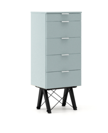 KOMODA TALLBOY TALL kolor ICE BLUE stelaż BUK BLACK  Komoda w formie szufladnika TALLBOY. Idealnie posłuży jako bieliźniarka w sypialni lub pokoju...
