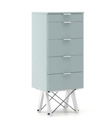 KOMODA TALLBOY TALL kolor ICE BLUE stelaż BUK WHITE  Komoda w formie szufladnika TALLBOY. Idealnie posłuży jako bieliźniarka w sypialni lub pokoju...