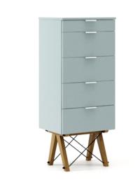 KOMODA TALLBOY TALL kolor ICE BLUE stelaż DĄB  Komoda w formie szufladnika TALLBOY. Idealnie posłuży jako bieliźniarka w sypialni lub pokoju dziecka....