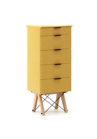 KOMODA TALLBOY TALL kolor LIGHT MUSTARD stelaż BUK (standard)  Komoda w formie szufladnika TALLBOY. Idealnie posłuży jako bieliźniarka w sypialni lub...