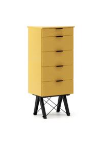 KOMODA TALLBOY TALL kolor LIGHT MUSTARD stelaż BUK BLACK  Komoda w formie szufladnika TALLBOY. Idealnie posłuży jako bieliźniarka w sypialni lub pokoju...