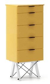 KOMODA TALLBOY TALL kolor LIGHT MUSTARD stelaż BUK WHITE  Komoda w formie szufladnika TALLBOY. Idealnie posłuży jako bieliźniarka w sypialni lub pokoju...