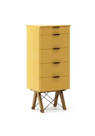 KOMODA TALLBOY TALL kolor LIGHT MUSTARD stelaż DĄB  Komoda w formie szufladnika TALLBOY. Idealnie posłuży jako bieliźniarka w sypialni lub pokoju...