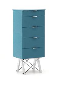 KOMODA TALLBOY TALL kolor OCEANIC stelaż BUK WHITE  Komoda w formie szufladnika TALLBOY. Idealnie posłuży jako bieliźniarka w sypialni lub pokoju...