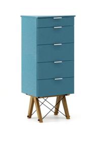 KOMODA TALLBOY TALL kolor OCEANIC stelaż DĄB  Komoda w formie szufladnika TALLBOY. Idealnie posłuży jako bieliźniarka w sypialni lub pokoju dziecka....