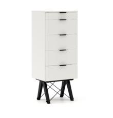 KOMODA TALLBOY TALL kolor WHITE stelaż BUK BLACK  Komoda w formie szufladnika TALLBOY. Idealnie posłuży jako bieliźniarka w sypialni lub pokoju dziecka....