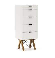 KOMODA TALLBOY TALL kolor WHITE stelaż DĄB  Komoda w formie szufladnika TALLBOY. Idealnie posłuży jako bieliźniarka w sypialni lub pokoju dziecka....