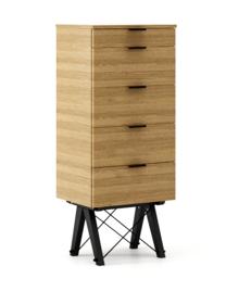 KOMODA TALLBOY TALL kolor RAW OAK stelaż BUK BLACK  Komoda w formie szufladnika TALLBOY. Idealnie posłuży jako bieliźniarka w sypialni lub pokoju...