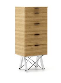 KOMODA TALLBOY TALL kolor RAW OAK stelaż BUK WHITE  Komoda w formie szufladnika TALLBOY. Idealnie posłuży jako bieliźniarka w sypialni lub pokoju...