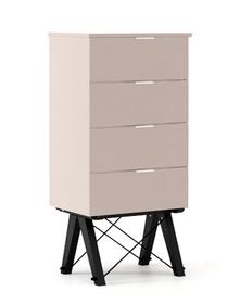KOMODA TALLBOY LOW kolor DUSTY PINK stelaż BUK BLACK  Komoda w formie szufladnika TALLBOY. Idealnie posłuży jako bieliźniarka w sypialni lub pokoju...