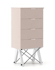 KOMODA TALLBOY LOW kolor DUSTY PINK stelaż BUK WHITE  Komoda w formie szufladnika TALLBOY. Idealnie posłuży jako bieliźniarka w sypialni lub pokoju...