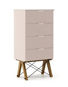 KOMODA TALLBOY LOW kolor DUSTY PINK stelaż DĄB  Komoda w formie szufladnika TALLBOY. Idealnie posłuży jako bieliźniarka w sypialni lub pokoju dziecka....