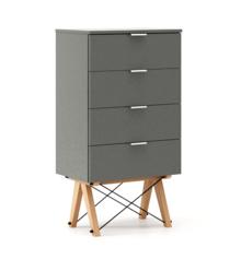 KOMODA TALLBOY LOW kolor GREY stelaż BUK (standard)  Komoda w formie szufladnika TALLBOY. Idealnie posłuży jako bieliźniarka w sypialni lub pokoju...
