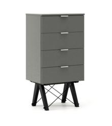 KOMODA TALLBOY LOW kolor GREY stelaż BUK BLACK  Komoda w formie szufladnika TALLBOY. Idealnie posłuży jako bieliźniarka w sypialni lub pokoju dziecka....