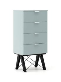 KOMODA TALLBOY LOW kolor ICE BLUE stelaż BUK BLACK  Komoda w formie szufladnika TALLBOY. Idealnie posłuży jako bieliźniarka w sypialni lub pokoju...