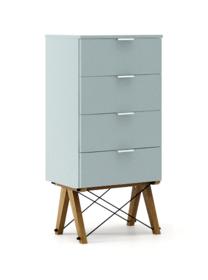 KOMODA TALLBOY LOW kolor ICE BLUE stelaż DĄB  Komoda w formie szufladnika TALLBOY. Idealnie posłuży jako bieliźniarka w sypialni lub pokoju dziecka....