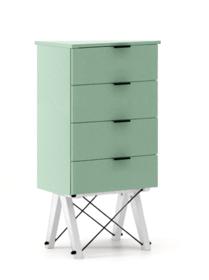 KOMODA TALLBOY LOW kolor MINT stelaż BUK WHITE  Komoda w formie szufladnika TALLBOY. Idealnie posłuży jako bieliźniarka w sypialni lub pokoju dziecka....