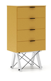 KOMODA TALLBOY LOW kolor LIGHT MUSTARD stelaż BUK WHITE  Komoda w formie szufladnika TALLBOY. Idealnie posłuży jako bieliźniarka w sypialni lub pokoju...