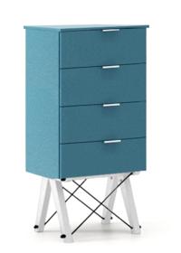 KOMODA TALLBOY LOW kolor OCEANIC stelaż BUK WHITE  Komoda w formie szufladnika TALLBOY. Idealnie posłuży jako bieliźniarka w sypialni lub pokoju...