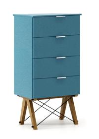 KOMODA TALLBOY LOW kolor OCEANIC stelaż DĄB  Komoda w formie szufladnika TALLBOY. Idealnie posłuży jako bieliźniarka w sypialni lub pokoju dziecka....