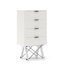 KOMODA TALLBOY LOW kolor WHITE stelaż BUK WHITE  Komoda w formie szufladnika TALLBOY. Idealnie posłuży jako bieliźniarka w sypialni lub pokoju dziecka....